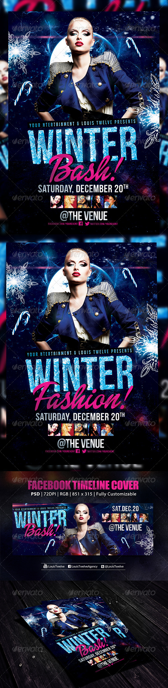 Winter Bash 2   Flyer + FB Cover - Holidays Events