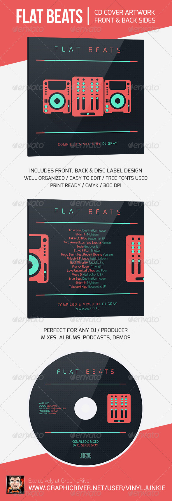 Flat Beats - DJ Mix CD Cover Artwork Template - CD & DVD Artwork Print Templates