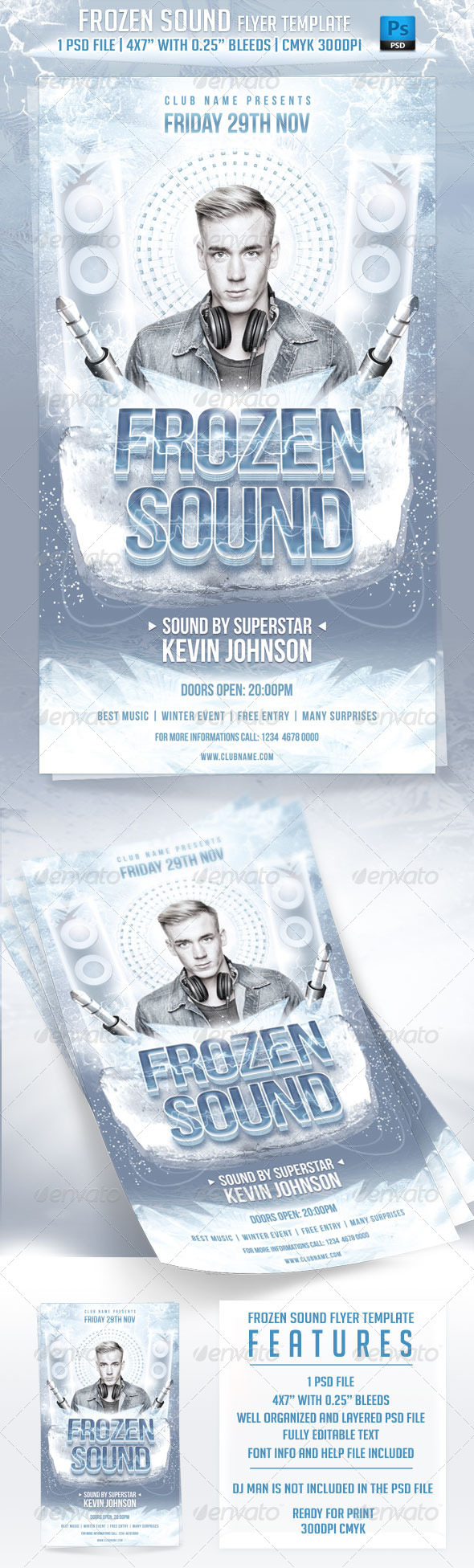 GraphicRiver Frozen Sound Flyer Template 6132924
