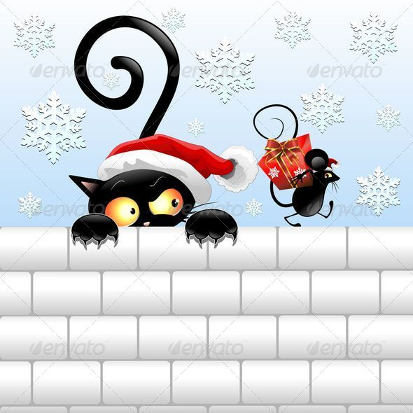 GraphicRiver Funny Christmas Black Cat and Mouse 6132932