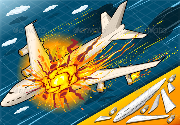 GraphicRiver Isometric Explosion of Airplane Falling Down 6133547