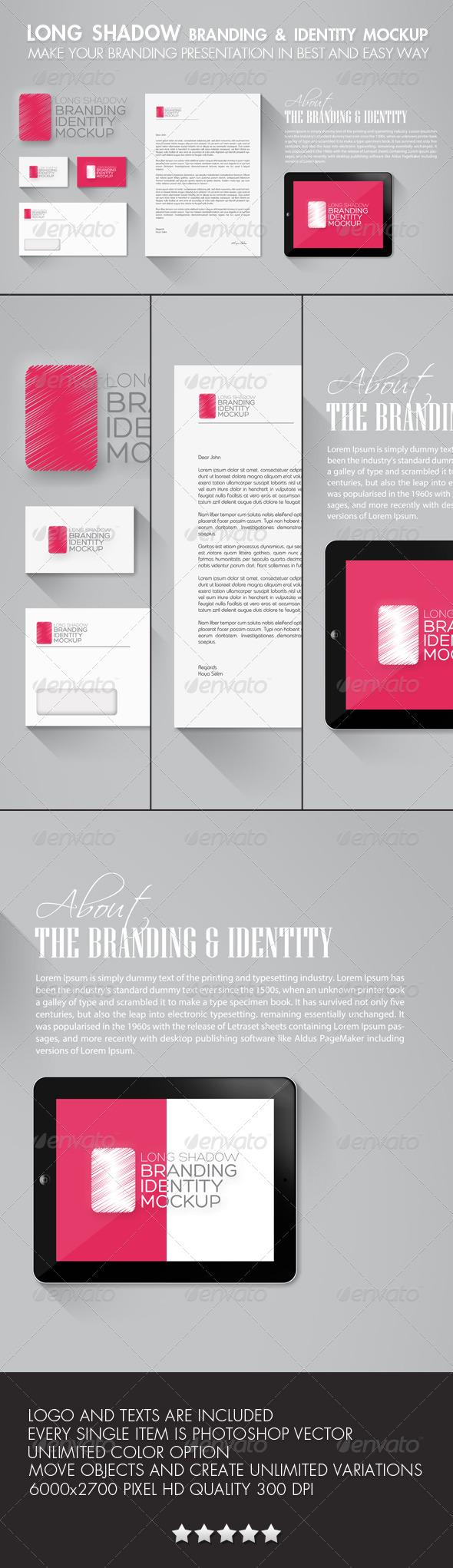 GraphicRiver Long Shadow Branding & Identity Mockup 6133841