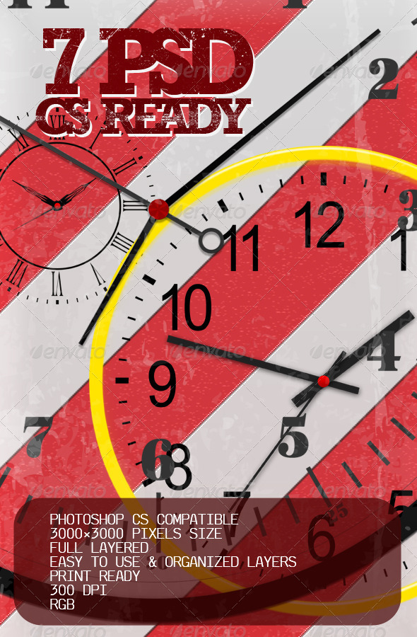 GraphicRiver 7 full layered PSD clocks 6133905