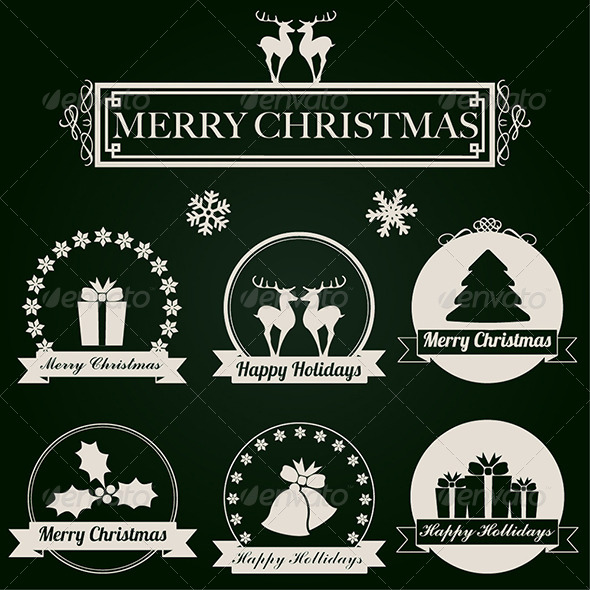 GraphicRiver Christmas Labels Vector Set 6134096