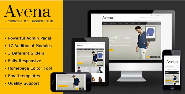 """Avena Responsive Premium Prestashop Theme"" – is a great solution for small and medium businesses. A"