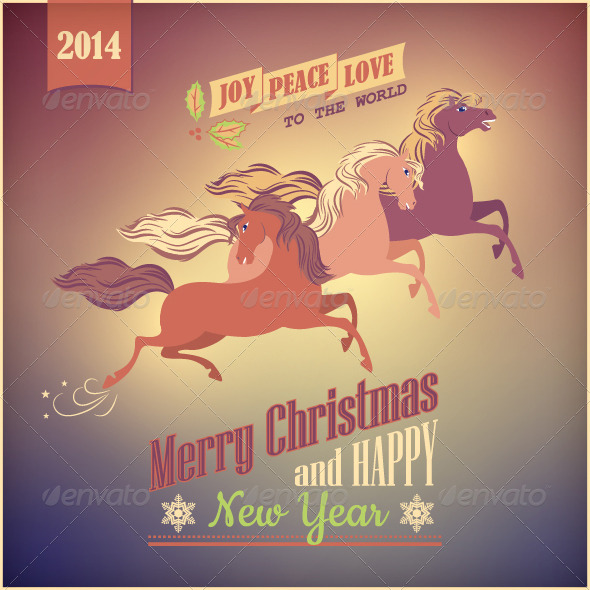 GraphicRiver Vintage Galloping Horse Vector Christmas 2014 Card 6134304