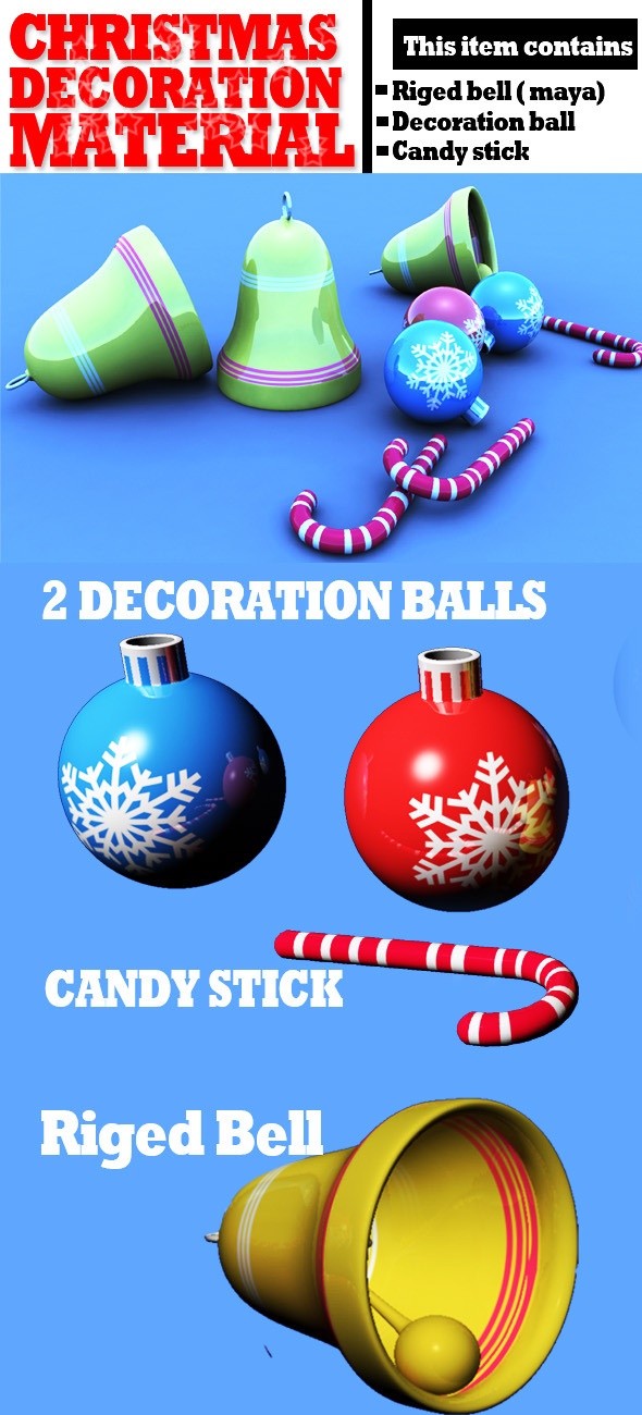 3DOcean Christmas Decoration Materials Textured 6134757