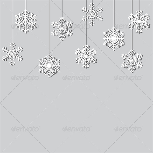 GraphicRiver Hanging Paper Snowflake Christmas Background 6134773