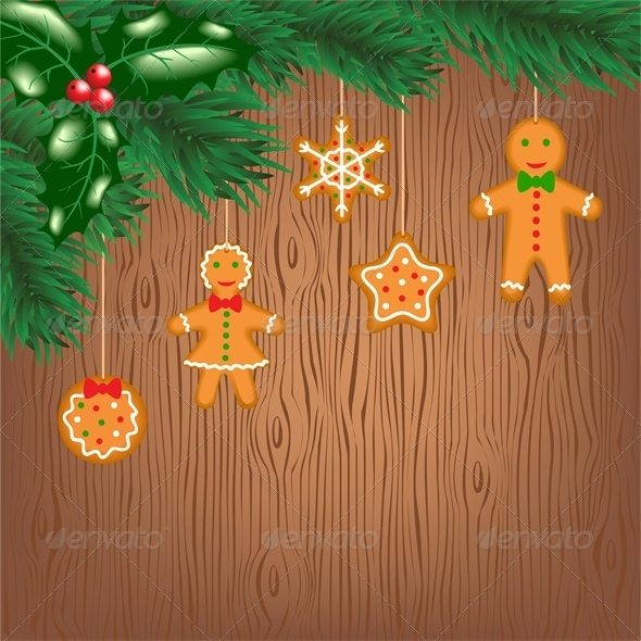 GraphicRiver Gingerbread Cookies Hanging on Christmas Tree 6134817