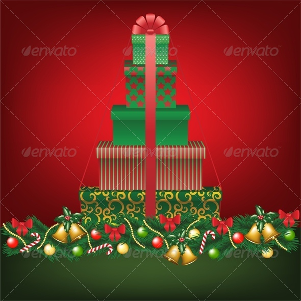 GraphicRiver Christmas Card with Stack of Tree Shaped Gifts 6134864