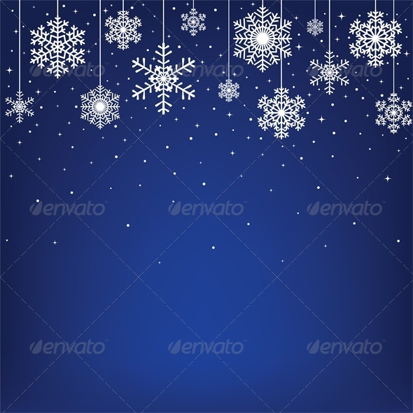 GraphicRiver Christmas Card with Hanging Snowflakes 6134872