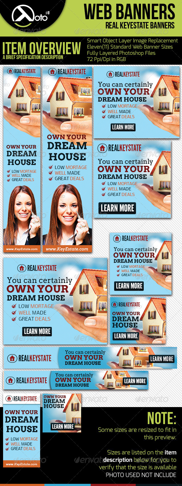 Real Key Estate House Sales Web Banner  - Banners & Ads Web Elements