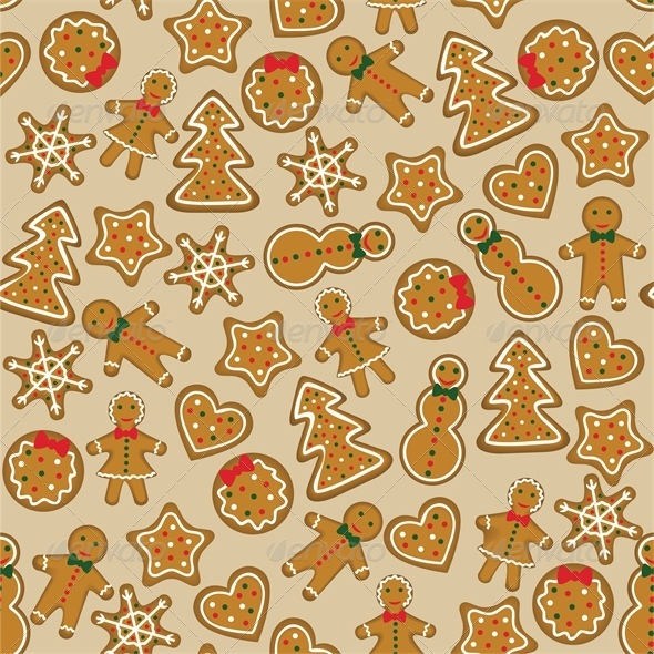 GraphicRiver Seamless Background with Christmas Cookies 6134891