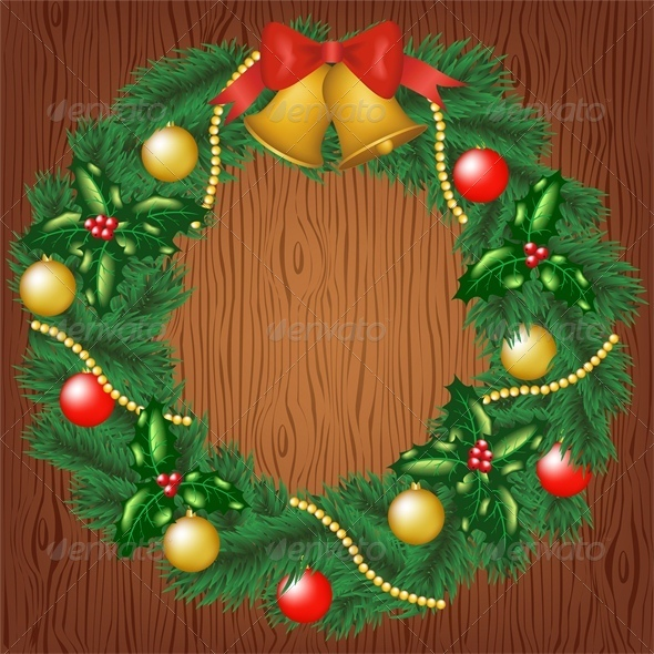 GraphicRiver Christmas Wreath on Wood Background 6134938