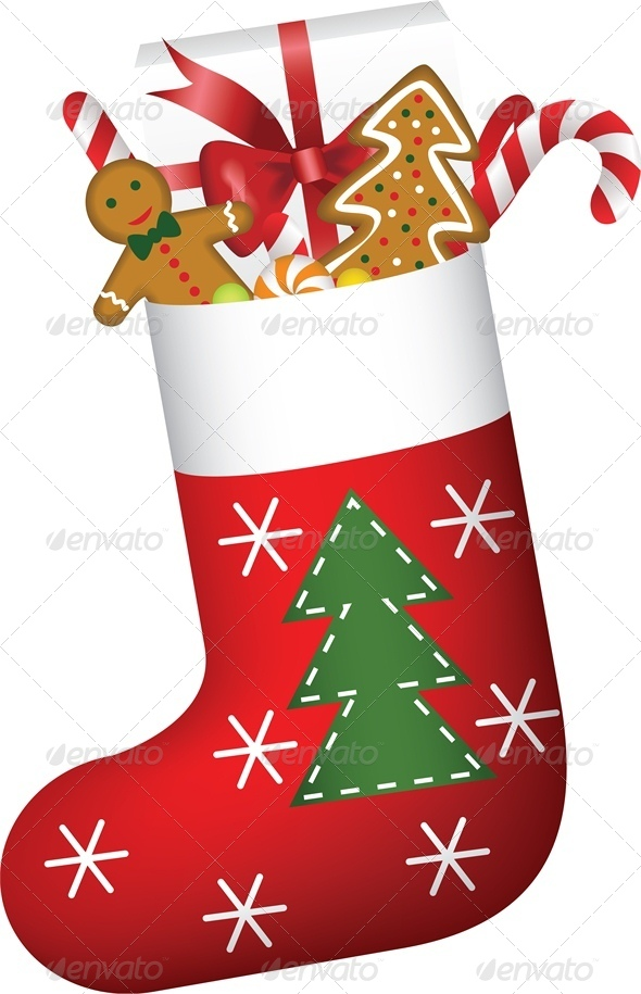 Christmas Stocking Full of Gifts and Cookies - Christmas Seasons ...