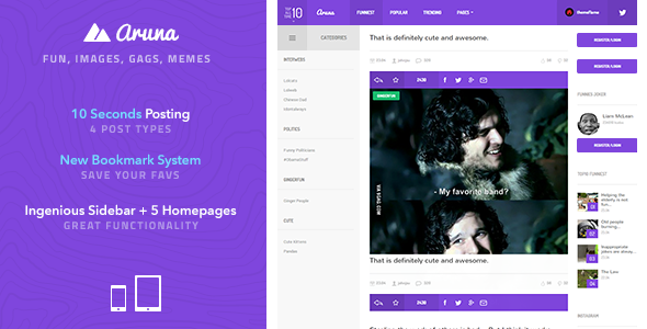 Aruna - Retina Meme / Gag / Image Sharing Template - Entertainment Site Templates