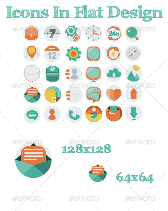 GraphicRiver Icons In Flat Design 6135028
