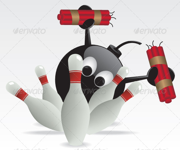 GraphicRiver Bowling Pins and Bomb Illustration 6135175
