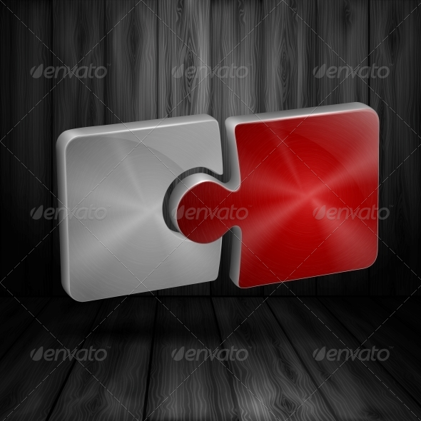 GraphicRiver Puzzle on Wooden Background 6135198
