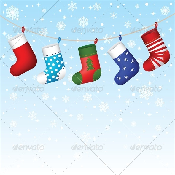 GraphicRiver Christmas Stocking Hanging with Snowflakes 6135201