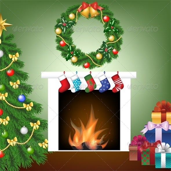 Christmas Card with Tree, Fire Place and Stockings