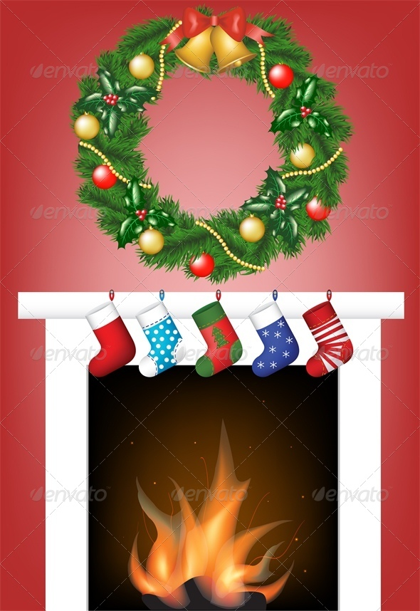Christmas Card with Fire Place, Stockings and Wreath