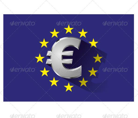 Silver Euro Symbol on Euro Flag