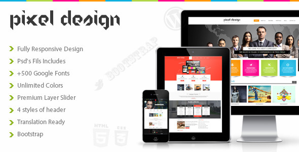 ThemeForest Pixel Design Multipurpose Theme 6135403