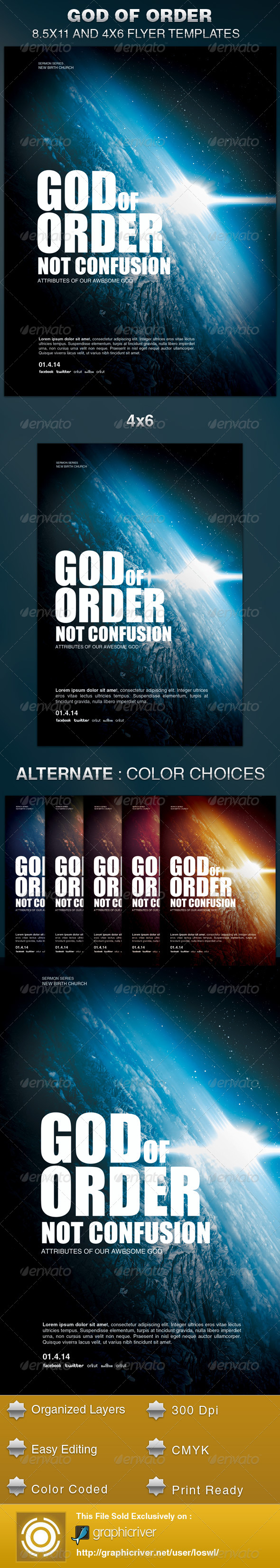 GraphicRiver God of Order Church Flyer Template 6135496