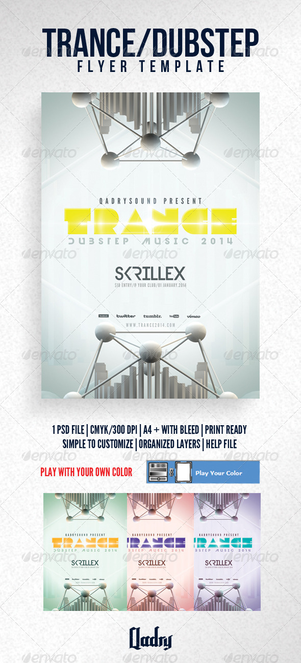 GraphicRiver Trance Dubstep Flyer Template 6135578