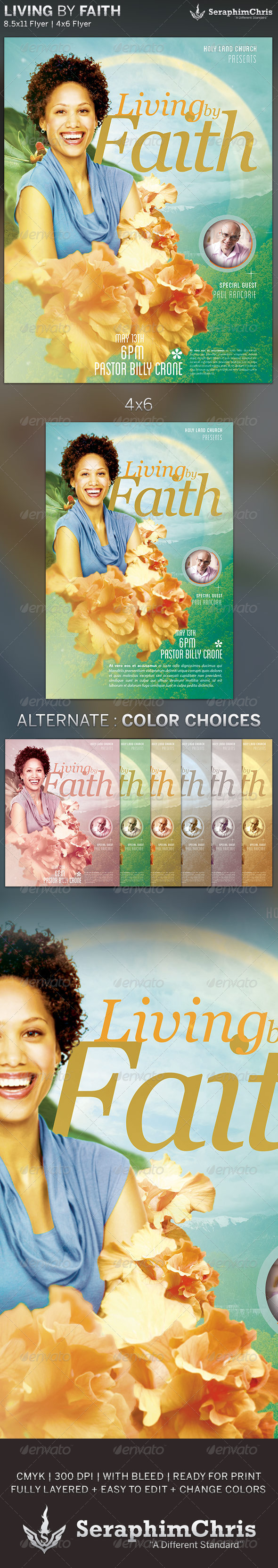 GraphicRiver Living by Faith Church Flyer Template 6135632