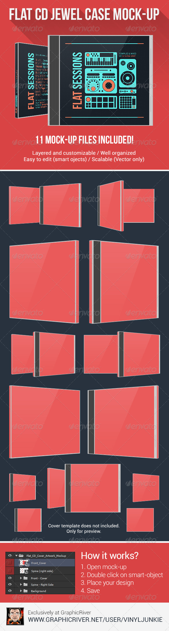 GraphicRiver Flat CD Jewel Case Mock-Up 6135640