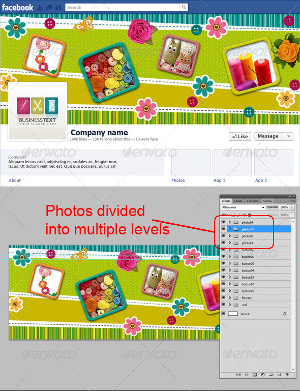 GraphicRiver Needlework or Patchwork Facebook Timeline 6135918