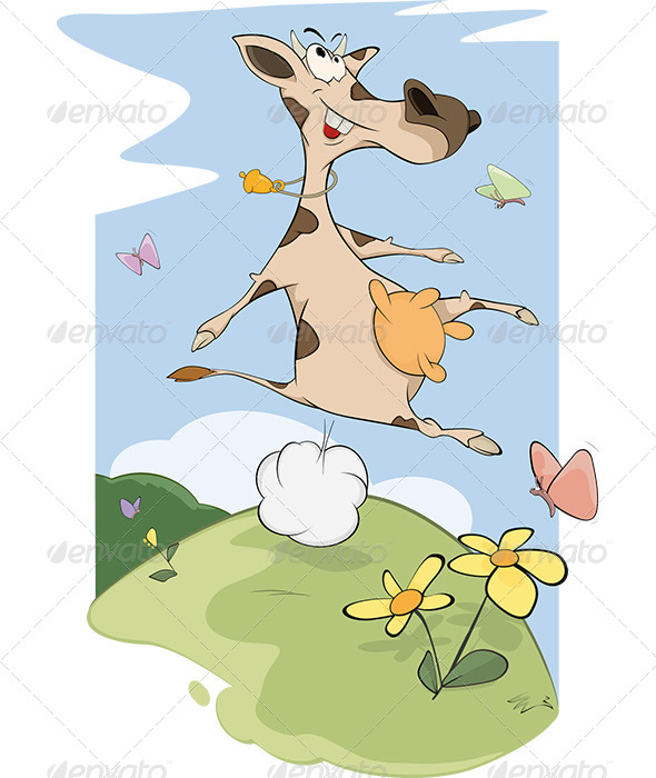 GraphicRiver Cheerful Cow on a Meadow Cartoon 6136392