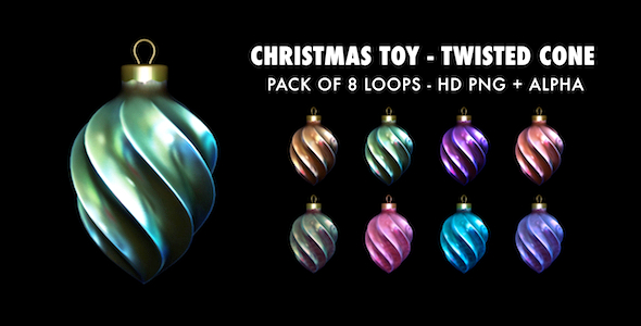 Xmas Toy Twisted Cone Pack of 8