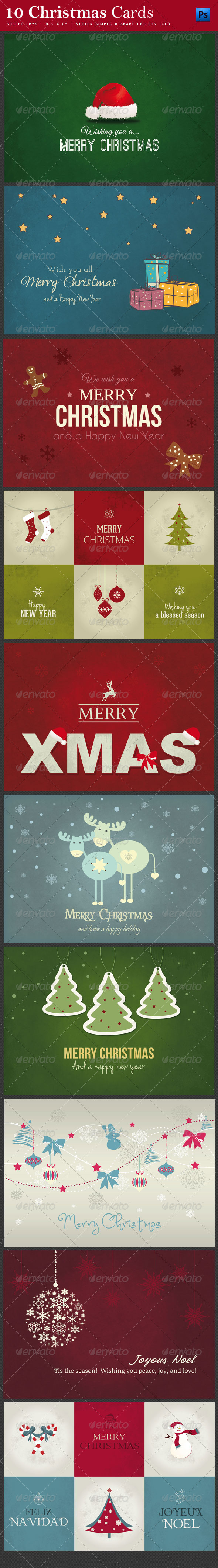 10 Christmas Cards PSD - Cards & Invites Print Templates