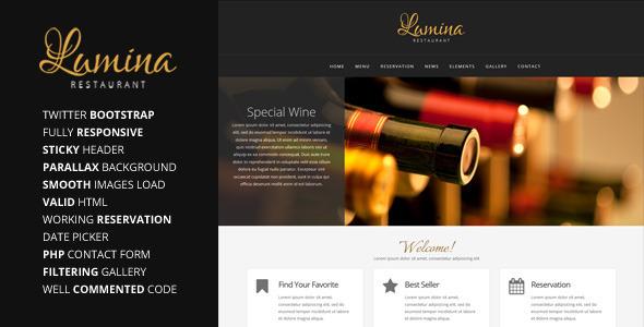ThemeForest Lumina Responsive Restaurant Website Template 6104228