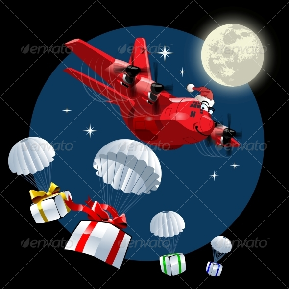 GraphicRiver Vector Cartoon Christmas Cargo Airplane 6137744