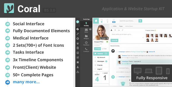 ThemeForest CORAL App & Website Startup KIT 6135908