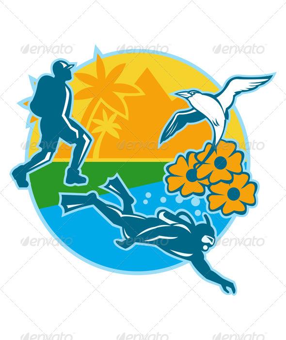 GraphicRiver Hiker Scuba Diver Island Tropicbird Flowers Retro 6138344