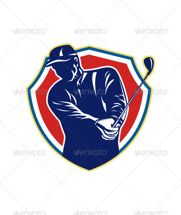 GraphicRiver Golfer Swing Club Playing Golf Retro 6138383