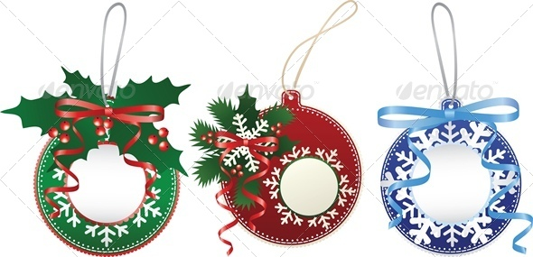 GraphicRiver Christmas Paper Bauble Set 6138522