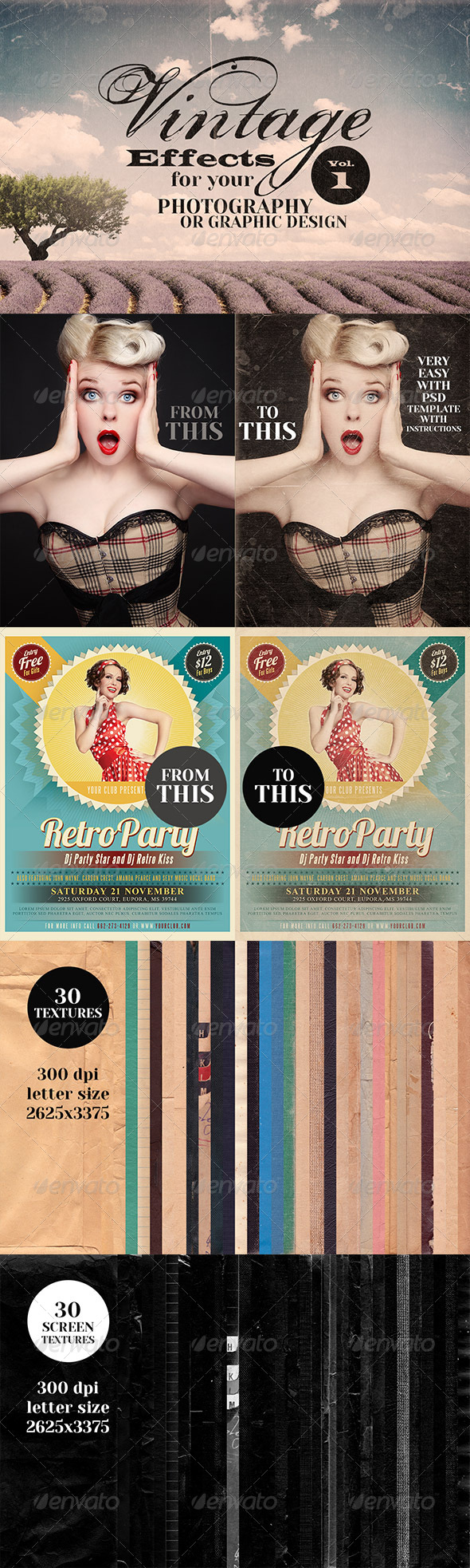 GraphicRiver Vintage Effects for Photo or Designs 6138527