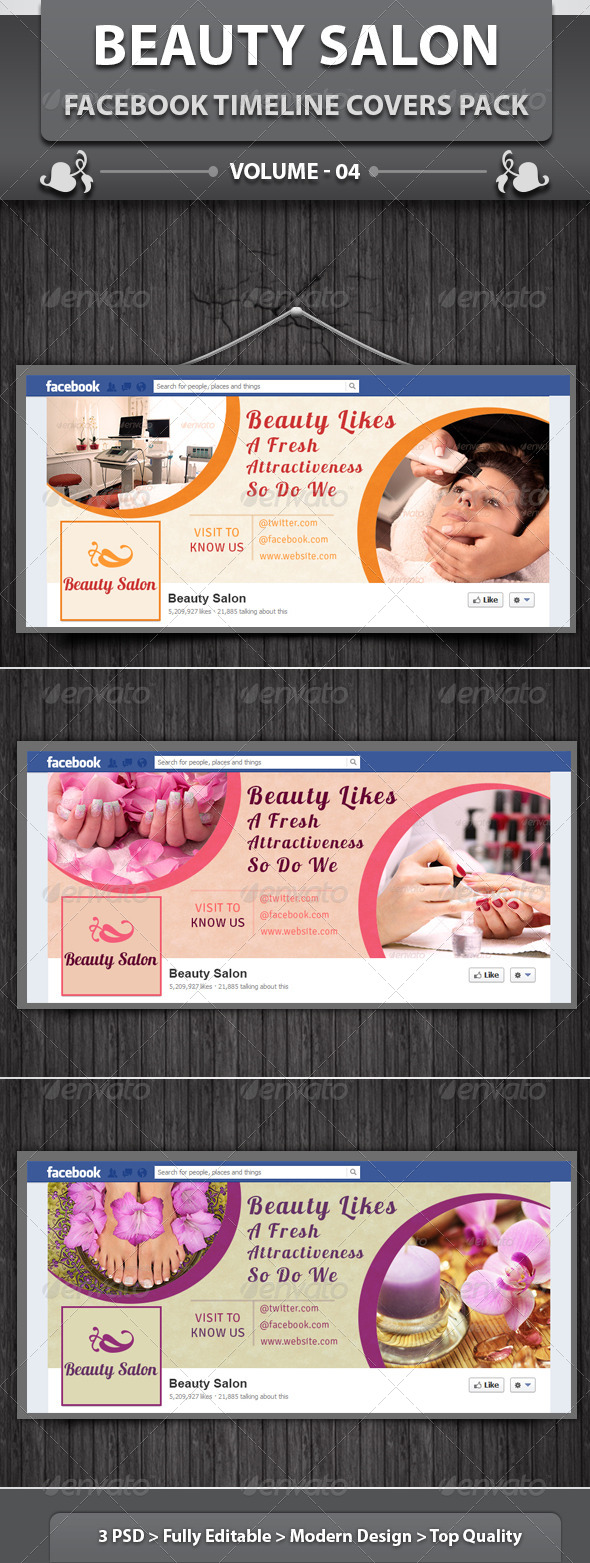 GraphicRiver Beauty Salon Facebook Timeline Covers Pack v4 6140923
