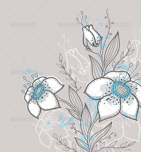GraphicRiver Blue Flowers 6141301