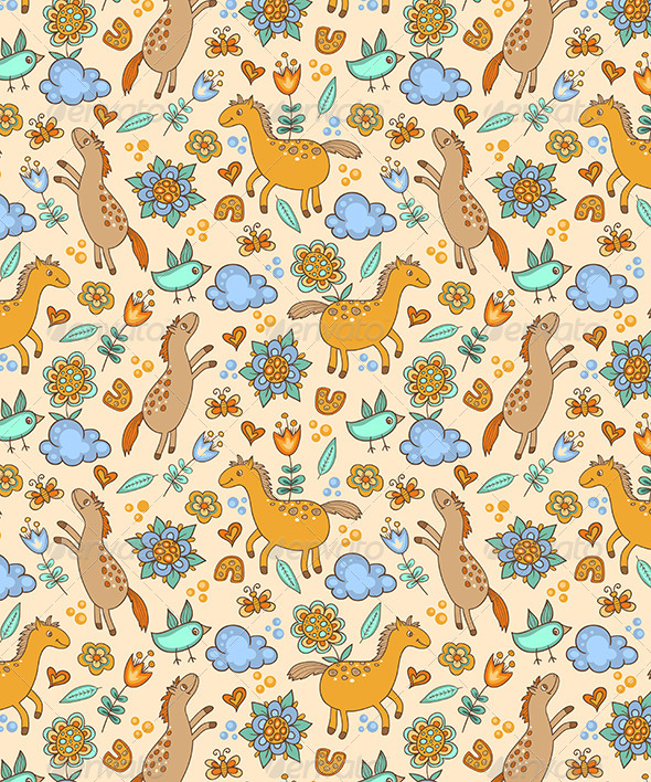 GraphicRiver Seamless Pattern with Horses 6142248
