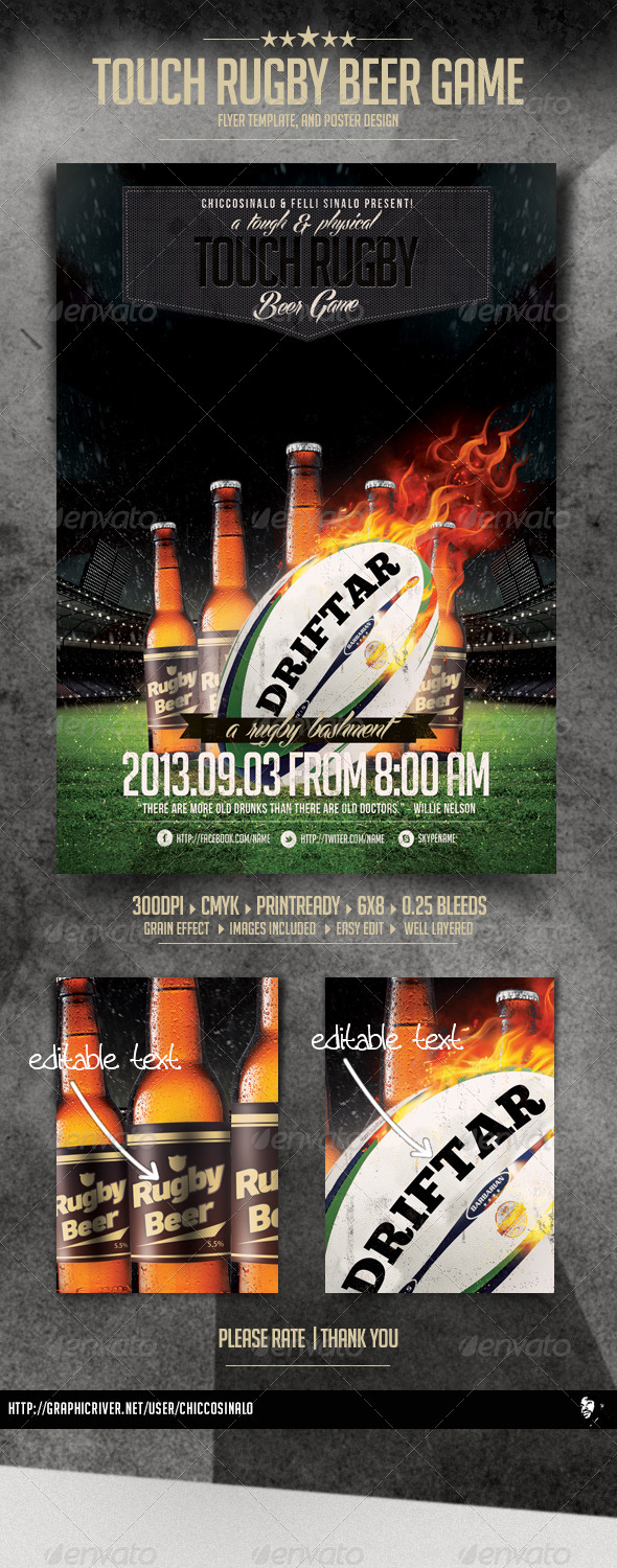 GraphicRiver Touch Rugby Beer Game Flyer 6142312
