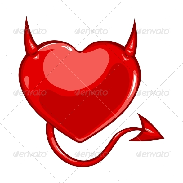 GraphicRiver Heart with Devil Horns and a Tail 6143361
