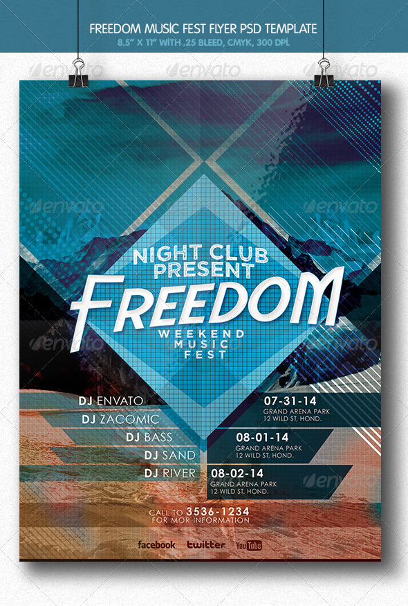 GraphicRiver Freedom Music Fest Flyer 6143416