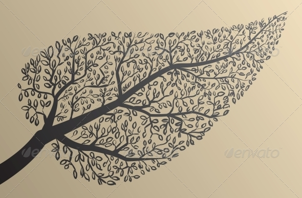 GraphicRiver Tree Silhouettes Leaf Shape 6143498